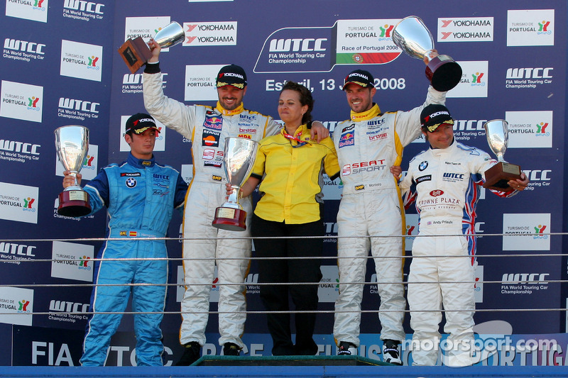 Podium 2nd race,, Sergio Hernandez, Yvan Muller Isabel Videira, Tiago Monteiro and Andy Priaulx