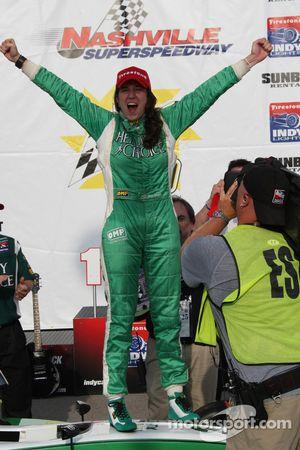 Victory lane: race winner Ana Beatriz celebrates