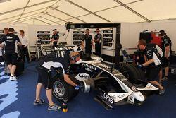 Williams team members prepare the car of Nico Rosberg