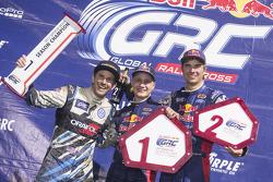 Podium: winner Joni Wiman, Olsbergs MSE Ford, second place Scott Speed, Andretti Autosport Volkswage