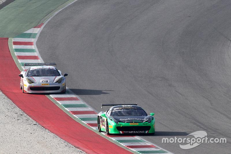 #183 Ineco MP - Racing Ferrai 458: Manuela Gostner avanti a #218 Ferrari o San Francisco Ferrari 458