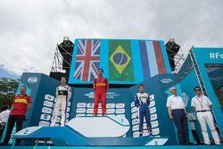 Podium: race winner Lucas di Grassi, ABT Schaeffler Audi Sport, second place Sam Bird, DS Virgin Racing Formula E Team, third place Robin Frijns, Amlin Andretti