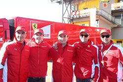Da sinistra a destra i piloti AF Corse: Andrea Bertolini, James Calado, Davide Rigon, Gianmaria Brun