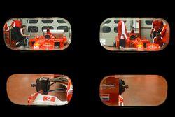 Deux Ferrari F1 Clienti dans les garages
