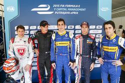 Les pilotes de la Superpole : Loic Duval, Dragon Racing, Stéphane Sarrazin, Venturi, le poleman Sébastien Buemi, Renault e.Dams Antonio Felix da Costa, Team Aguri, et Nicolas Prost, Renault e.Dams