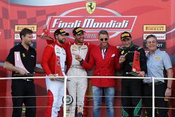 Подиум гонки 2 Pirelli EU, слева направо: второе место #84 Octane 126 Ferrari 458: Бьорн Гроссман, п