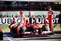 Kimi Raikkonen, Ferrari con Sebastian Vettel, Ferrari y Esteban Gutiérrez, Ferrari Piloto de Pruebas