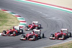 Марк Жене, Ferrari F10, Эстебан Гутьеррес, Ferrari F138, Себастьян Феттель, Ferrari F2012 и Кими Рай