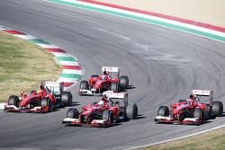 Da sinistra a destra: Marc Gene, collaudatore Ferrari, a bordo della F10, Esteban Gutierrez, collaudatore Ferrari, a bordo della F138, Sebastian Vettel, Ferrari, a bordo della F2012 e Kimi Raikkonen, Ferrari, a bordo della F138