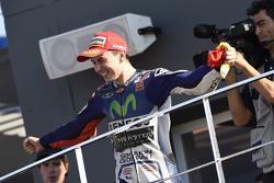 Podium: winnaar en wereldkampioen 2015 Jorge Lorenzo, Yamaha Factory Racing