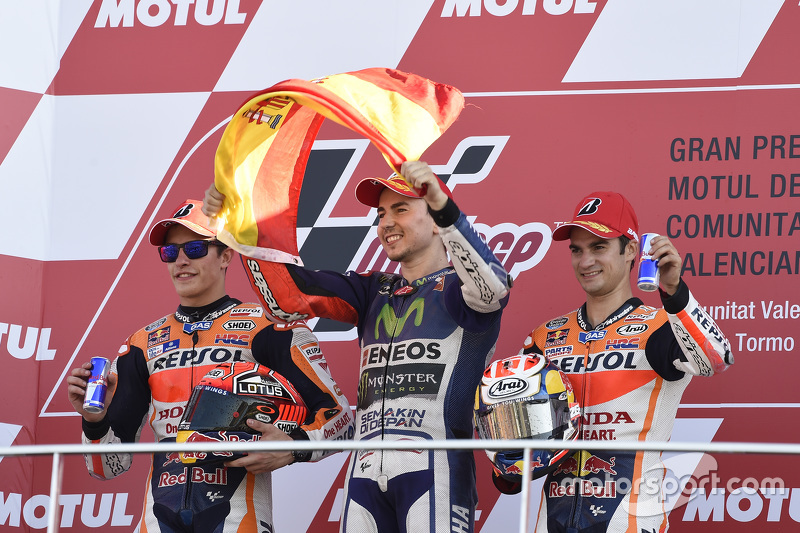 Podium: second place Marc Marquez, Repsol Honda Team and Winner and 2015 World Champion Jorge Lorenz