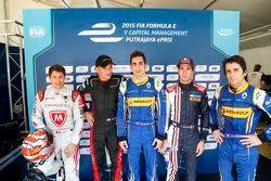 Da sinistra a destra: Loic Duval, Dragon Racing, Stephane Sarrazine, Venturi Formula E Team, Sebasti