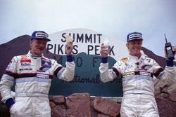 Winner Ari Vatanen, Peugeot 405 Turbo 16 and second place Juha Kankkunen, Peugeot 405 Turbo 17