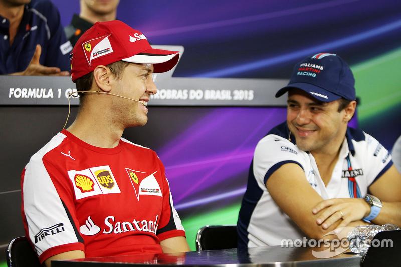 (L to R): Sebastian Vettel, Ferrari with Felipe Massa, Williams in the FIA Press Conference