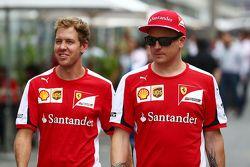 Sebastian Vettel, Ferrari, mit Kimi Räikkönen, Ferrari