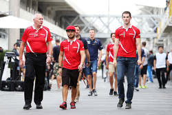 (L to R): John Booth, Manor Marussia F1 Team Team Principal with Will Stevens, Manor Marussia F1 Team and Alexander Rossi, Manor Marussia F1 Team