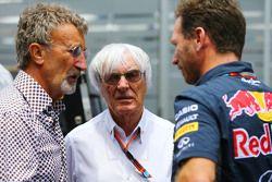 (L to R): Eddie Jordan, BBC Television Pundit with Bernie Ecclestone, and Christian Horner, Red Bull Racing Team Principal