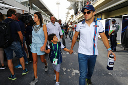 Felipe Massa, Williams with his wife Rafaela Bassi, and son Felipinho Massa
