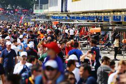 Fans enjoy a pit lane walkabout