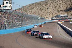 Brad Keselowski, Team Penske Ford and Erik Jones, Joe Gibbs Racing Toyota and Austin Dillon, Richard Childress Racing Chevrolet