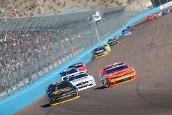 Brendan Gaughan, Richard Childress Racing Chevrolet and Kyle Larson, Hscott Motorsports Chevrolet