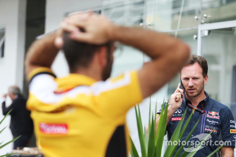 Christian Horner, Red Bull Racing teambaas en Cyril Abiteboul, Renault Sport F1 Managing Director
