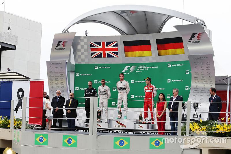 Podium: race winner Nico Rosberg, Mercedes AMG F1 W06, with second place Lewis Hamilton, Mercedes AM