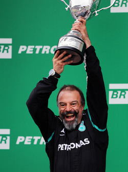 Jimmy Waddell, Mercedes AMG F1 Composite Inspector celebrates on the podium