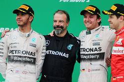 Podium: race winner Nico Rosberg, Mercedes AMG F1 W06, with second place Lewis Hamilton, Mercedes AMG F1 W06 and third place Sebastian Vettel, Ferrari