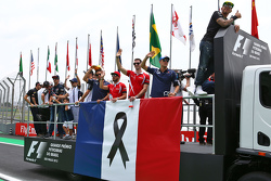 The drivers parade pays respects to the victims of the Paris terrorist attacks
