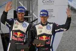 Podium: third place Andreas Mikkelsen and Ola Floene, Volkswagen Motorsport