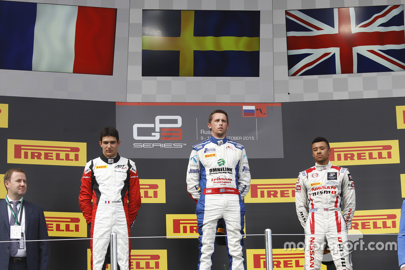 Race 2 Podium: second place Esteban Ocon, ART Grand Prix and winner Jimmy Eriksson, Koiranen GP and third place Jann Mardenborough, Carlin