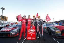 2015 GT500 Champion Tsugio Matsuda and Ronnie Quintarelli, Nismo with 2015 GT300 Champion Andre Couto and Katsumasa Chiyo, Gainier Tanax