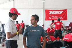 Juan Pablo Montoya with J. Anand, Head of operations of Team MRF