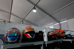 Helmets of Antonio Fuoco, Carlin, Jann Mardenborough, Carlin and Mitch Gilbert, Carlin