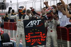 Race 1 winner Stoffel Vandoorne and second place Nobuharu Matsushita, ART Grand Prix with their Team Champions board