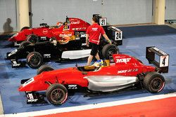 Winner Alessio Picariello, second place Pietro Fittipaldi, third place Nikita Troitskiy in parc ferme