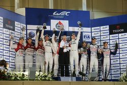 Podium: 1. Romain Dumas, Neel Jani, Marc Lieb, Porsche Team; 2. Marcel Fässler, Andre Lotterer, Beno