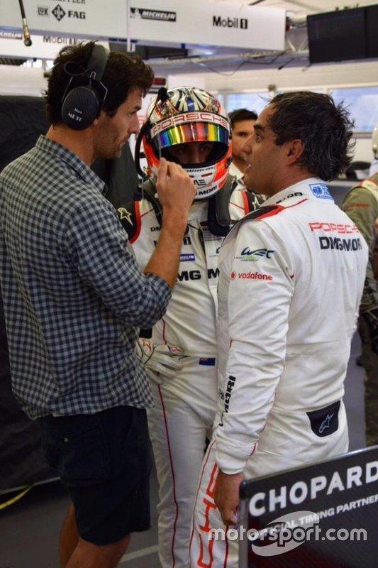 Juan Pablo Montoya junto a Mark Webber y Mitch Evans.