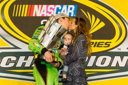 Victory lane: race winner and 2015 NASCAR Sprint Cup series champion Kyle Busch, Joe Gibbs Racing Toyota celebrates with wife Samantha