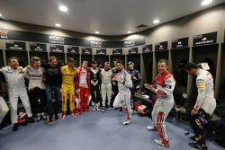 Jenson Button, Nico Hulkenberg, ROC founder Fredrik Johnsson, Ryan Hunter-Reay, Sebastian Vettel, Pe