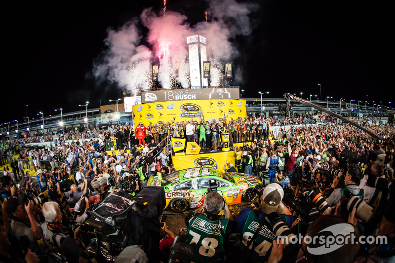 6. Victory Lane: race winner and 2015 NASCAR Sprint Cup series champion Kyle Busch, Joe Gibbs Racing Toyota celebrates