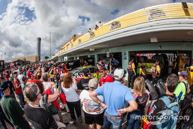 Fan gathering outside the garage of Jeff Gordon, Hendrick Motorsports Chevrolet