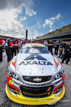 Car of Jeff Gordon, Hendrick Motorsports Chevrolet in the technical inspection line