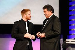 2015 NASCAR Xfinity Series champion Chris Buescher with NASCAR Vice-Chairman Mike Helton