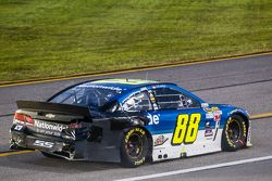 Dale Earnhardt Jr., Hendrick Motorsports Chevrolet with a damaged car