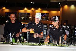 Nico Hulkenberg, Sahara Force India F1 and Sergio Perez, Sahara Force India F1 make cocktails at a Sahara Force India F1 Team Hype Energy MFP Media Event