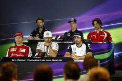 The FIA Press Conference, Lotus F1 Team; Daniil Kvyat, Red Bull Racing; Roberto Merhi, Manor Marussia F1 Team; Kimi Raikkonen, Ferrari; Lewis Hamilton, Mercedes AMG F1; Fernando Alonso, McLaren