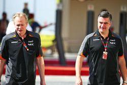 Andrew Green, Director de técnico de equipo Sahara Force India F1 con Andy Stevenson, Sahara Force I