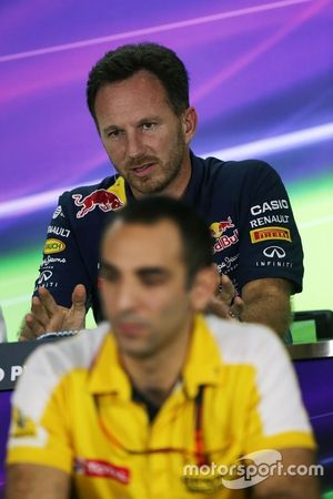 Christian Horner, Red Bull Racing Team Principal and Cyril Abiteboul, Renault Sport F1 Managing Director in the FIA Press Conference